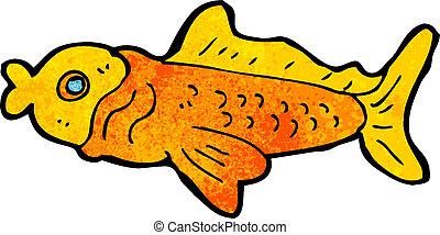 divertente, fish, cartone animato