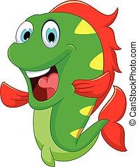 divertente, fish, disegno, lei, cartone animato