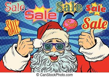divertente, fondo, claus, vendita, santa, occhiali