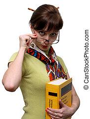 divertente, fondo, dizionario, studente, isolato, presa a terra, bianco