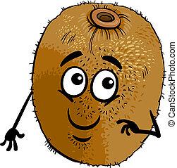 divertente, frutta kiwi, cartone animato, illustrazione