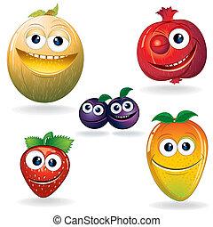 divertente, frutte, d