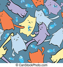 divertente, gatti, cartone animato, struttura