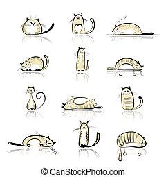 divertente, gatti, disegno, tuo, collezione