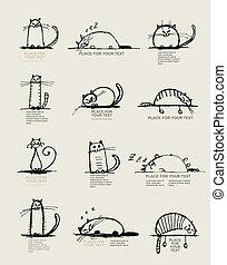divertente, gatti, schizzo, disegno, con, posto, per, tuo,...