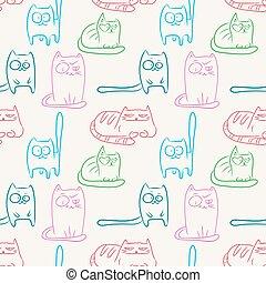 divertente, gatti, seamless, modello