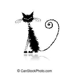 divertente, gatto, disegno, bagnato, nero, tuo