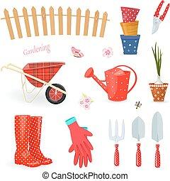 divertente, giardinaggio, colorito, collezione, equipments, attrezzi
