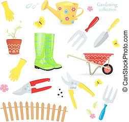 divertente, giardinaggio, colorito, modello, collezione, bello, attrezzi