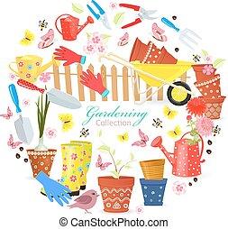 divertente, giardinaggio, colorito, yo, attrezzi, equipments, bandiera