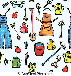 divertente, giardino, modello, seamless, disegno, attrezzi