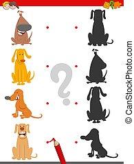 divertente, gioco, uggia, cartone animato, cani