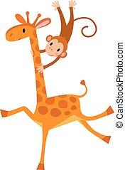 divertente, giraffa, scimmia