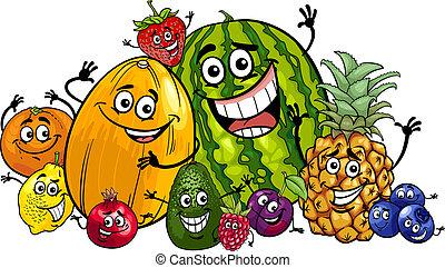 divertente, gruppo, cartone animato, illustrazione, frutte