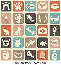 divertente, icone, modello, cane, seamless, gatto, luminoso