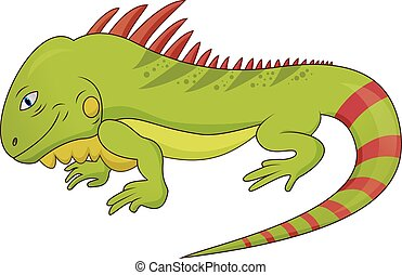 divertente, iguana, lucertola, cartone animato
