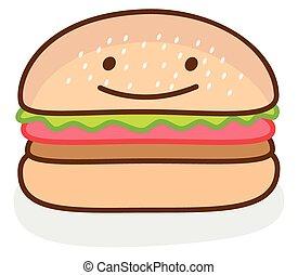 divertente, illustrazione, hamburger