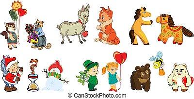 divertente, immagini, books., bambini, prodotti, s, disegno, vario, cartelle