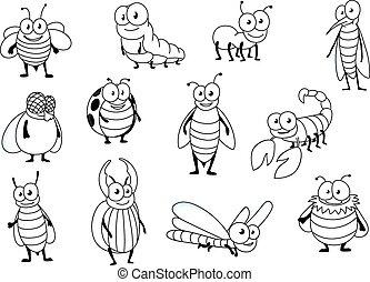 divertente, insetto, cartone animato, caratteri, colorless