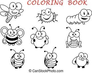 divertente, insetto, cartone animato, caratteri, contorno