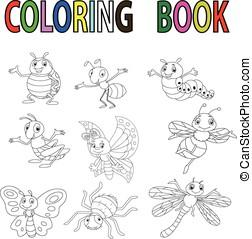 divertente, insetto, coloritura, cartone animato, libro