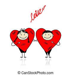 divertente, insieme, valentina, day., disegno, cuori, tuo
