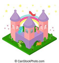 divertente, isolated., poco, dinosauri, design., illustrazione, castello, draghi, isometrico, animali, cartone animato, fantasia, vettore, carino, fairytale, bambino, bambini, decorazione, bambini