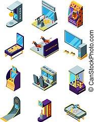 divertente, isometrico, bambini, machines., arcata, simulatore, parco, flipper, gioco, vettore, giochi, divertimento, corsa, freccette, macchine