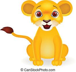 divertente, leone bambino, cartone animato