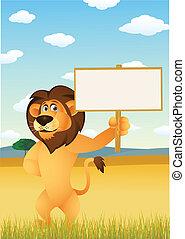 divertente, leone, cartone animato, con, segno bianco