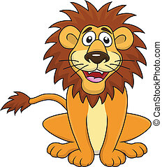 divertente, leone, cartone animato, seduta