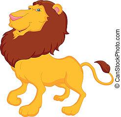 divertente, leone, cartone animato