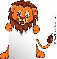 divertente, leone, vuoto, cartone animato, segno