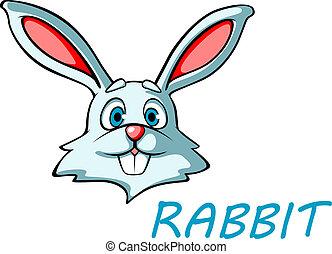 divertente, lepre, cartone animato, coniglio, o