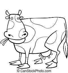 divertente, libro, coloritura, mucca