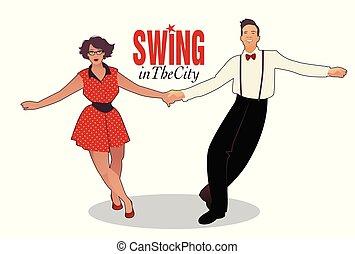 divertente, lindy, ballare coppie, luppolo, roccia, altalena, o
