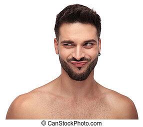 divertente, lontano, monokini, dall'aspetto, tipo, barba