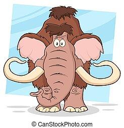 divertente, mammut, cartone animato, carattere