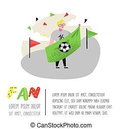 divertente, manifesto, sostenere, flag., football, carattere, illustrazione, festeggiare, vettore, ventilatore, banner., supporter., fiammifero, sport, persone, vittoria