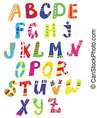 divertente, -, mano, modelli, disegno, disegnato, font