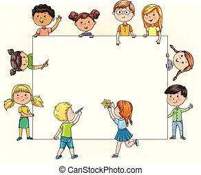divertente, matite, testo, bambini, vernice, vuoto, presa, bandiera, tuo