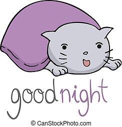 divertente, messaggio, buono, notte, gatto