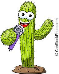 divertente, microfono, carattere, isolato, presentatore, vettore, altoparlante, cactus, cartone animato