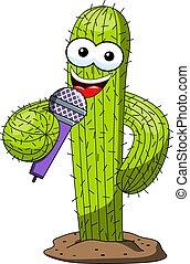 divertente, microfono, carattere, isolato, vettore, altoparlante, cactus, canto, cartone animato