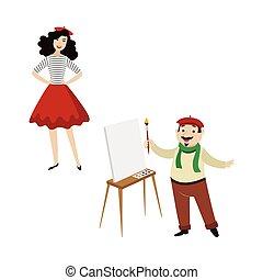 divertente, moda, artista, francese, caratteri, ragazza