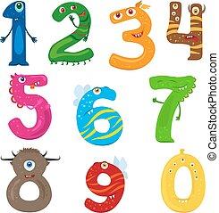 divertente, mostro, numeri