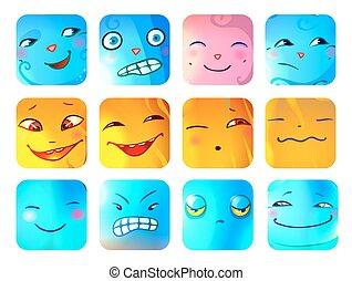 divertente, mostro, set, cartone animato, facce