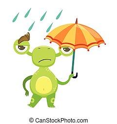 divertente, mostro, triste, camminare, sotto, pioggia, con, ombrello, straniero verde, emoji, cartone animato, carattere, adesivo
