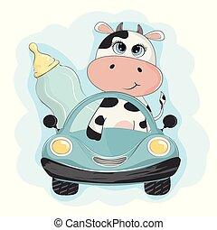divertente, mucca, bambino, automobile., bottiglia, andare, latte