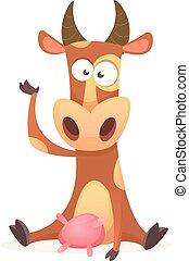 divertente, mucca, carattere, isolato, fondo, bianco, cartone animato